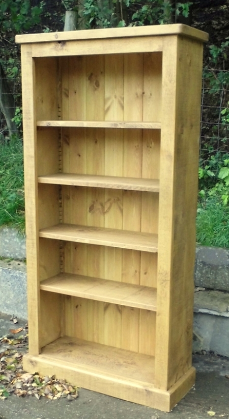 Plank Style Bookcase With Movable Shelves Rustic Plank