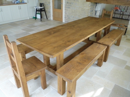 9' x 3' Pie table with 2 / 4' benches and chunky chairs