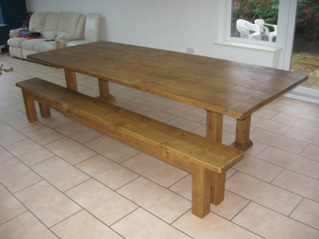 10' x 4' table with a matching 10' bench