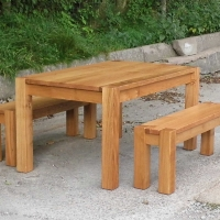 Chunky Oak Dining Table and Benches