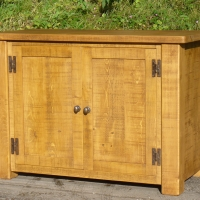 Plank style cupboard in antique pine finish